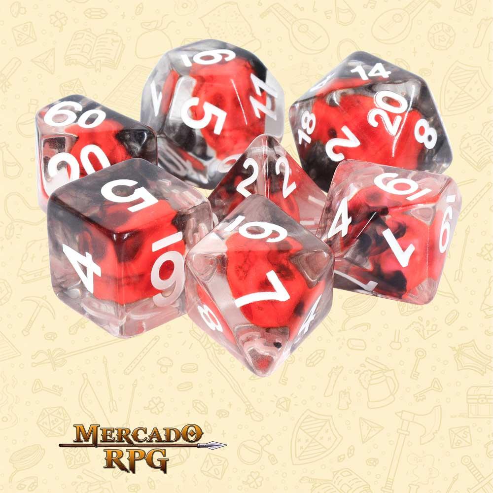 Dados de RPG - Conjunto com 7 Dados Translúcidos - Red Skull Dice - Mercado RPG