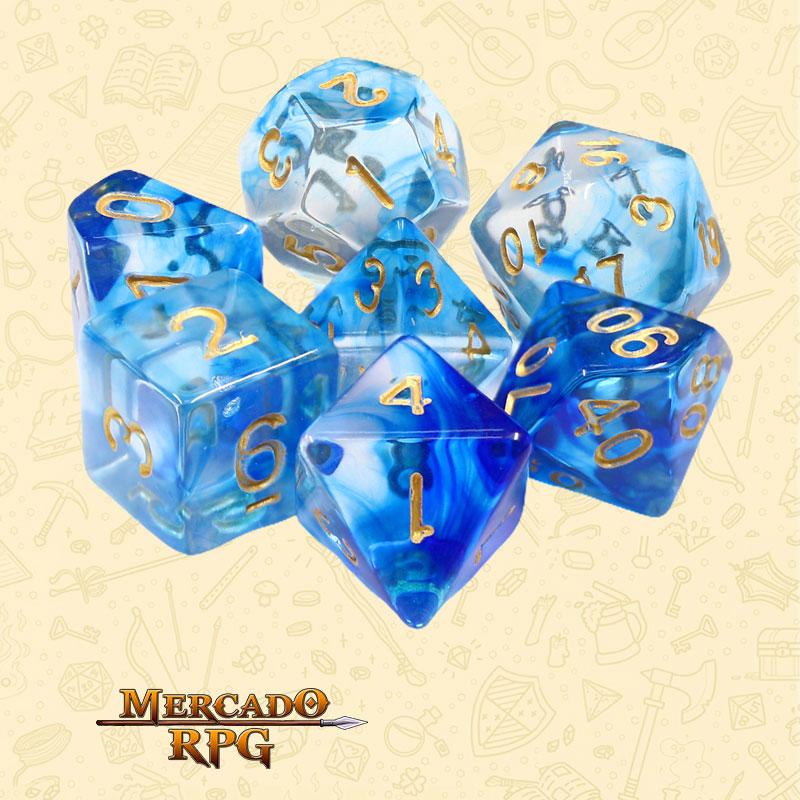 Dados de RPG - Conjunto com 7 Dados Translúcidos - Under the Sea Nebula Dice - Mercado RPG