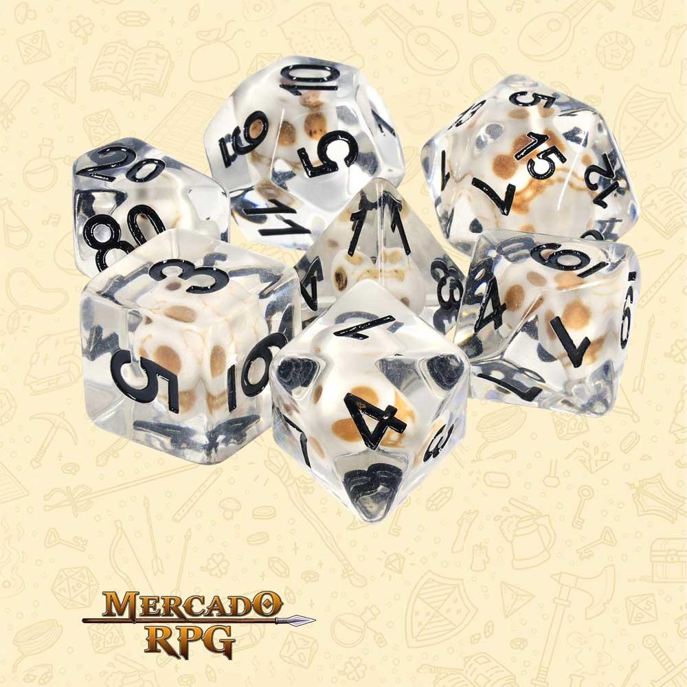 Dados de RPG - Conjunto com 7 Dados Translúcidos - White Skull Dice - Mercado RPG