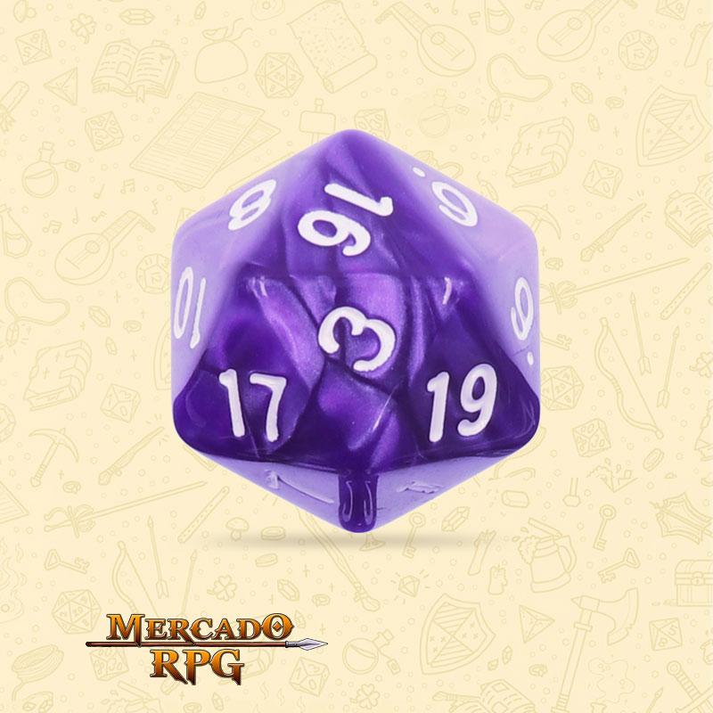 Dado de RPG - D20 Purple Pearl Dice - Vinte Lados - Mercado RPG