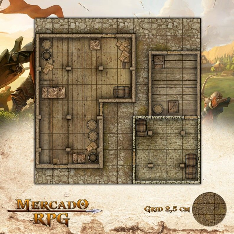 Depósito nas Docas 25x25 Grid de Batalha - RPG Battle Grid D&D