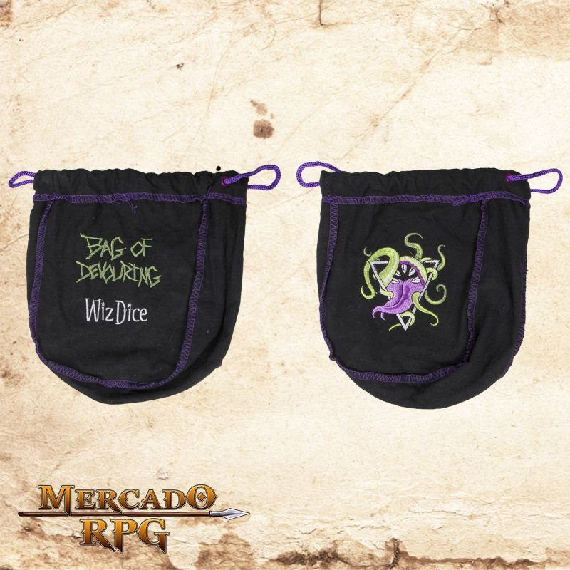 Dice Bag Grande - Preto  - Mercado RPG