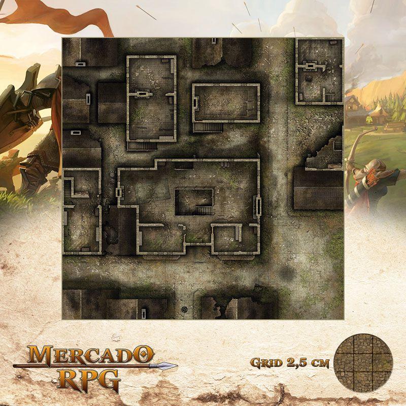 Distrito Abandonado Primeiro andar 75x75 - RPG Battle Grid D&D