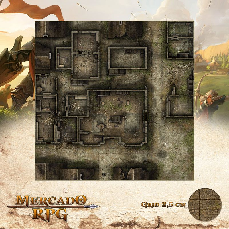 Distrito Abandonado Térreo 75x75 - RPG Battle Grid D&D