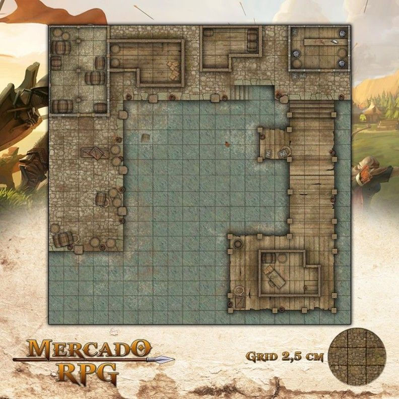 Docas 50x50 - RPG Battle Grid D&D  - Mercado RPG