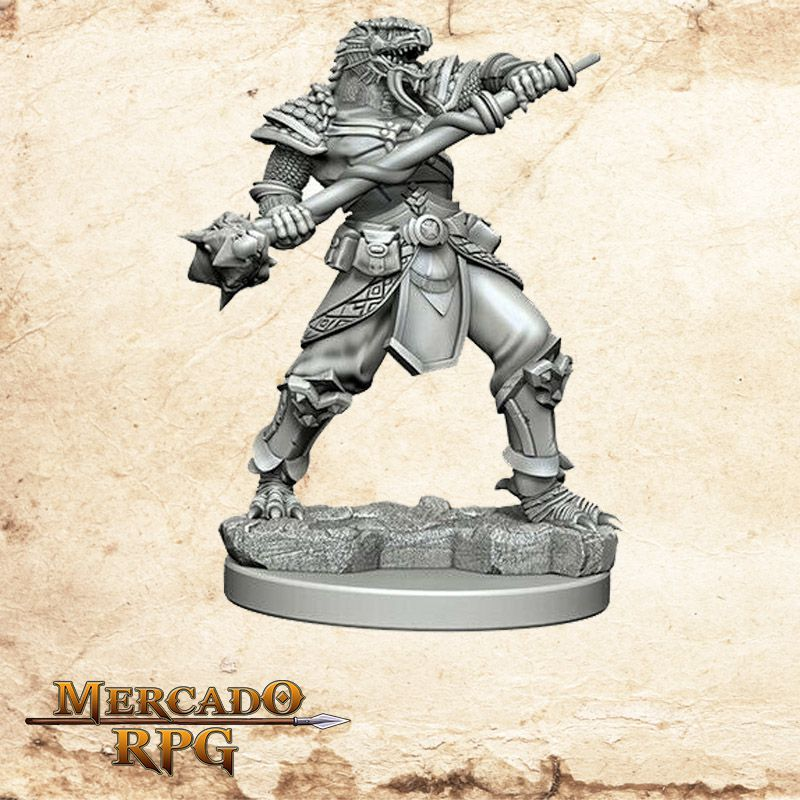 Dragonborn Male Fighter B - Miniatura RPG  - Mercado RPG