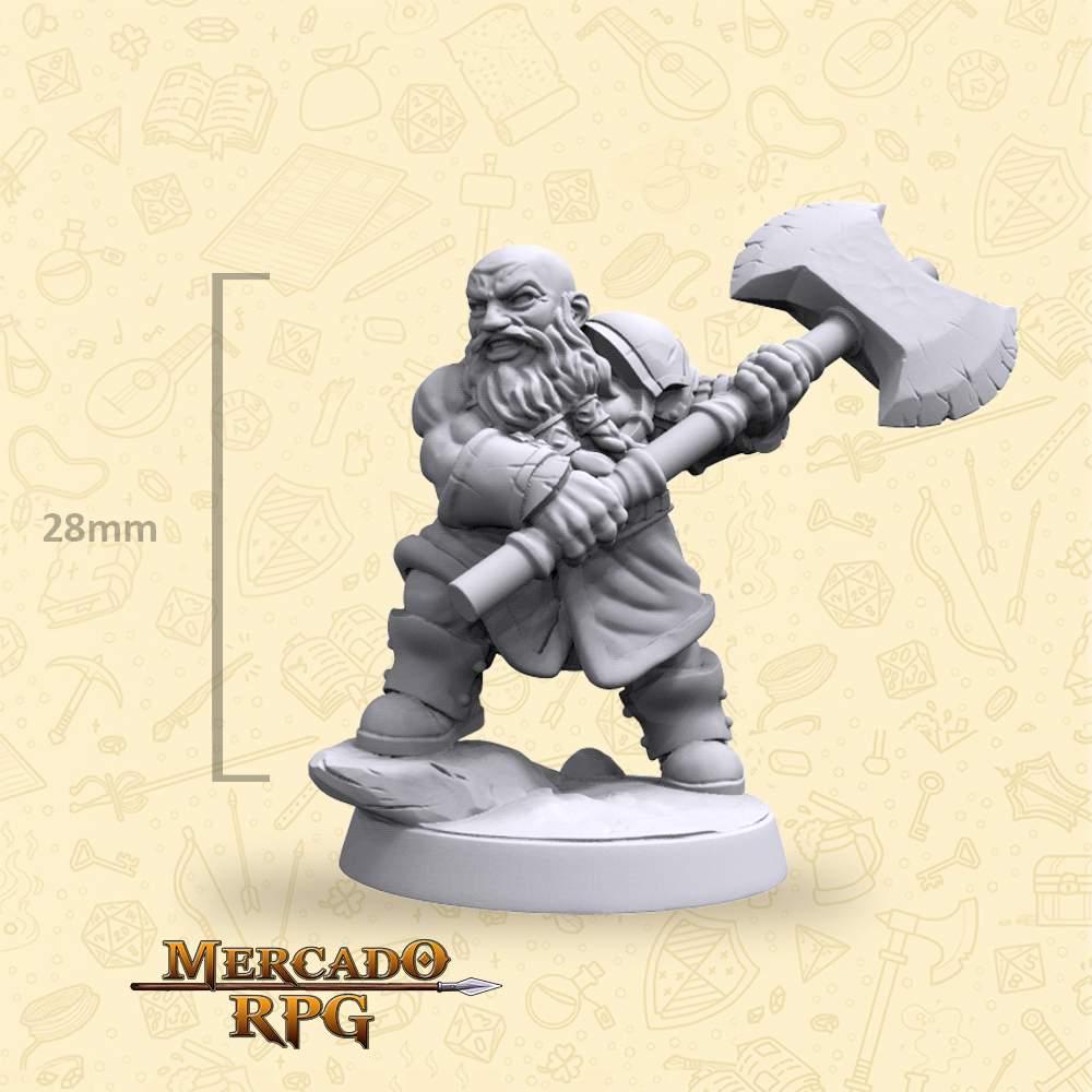 Dwarf Barbarian - Hero - Miniatura - RPG