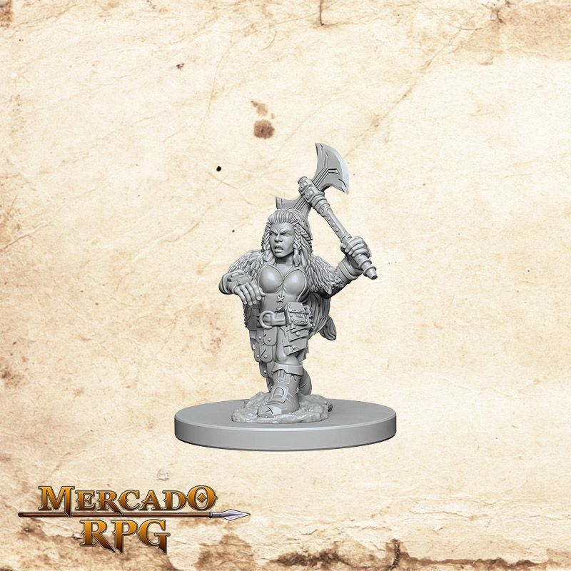 Dwarf Female Barbarian B - Miniatura RPG  - Mercado RPG