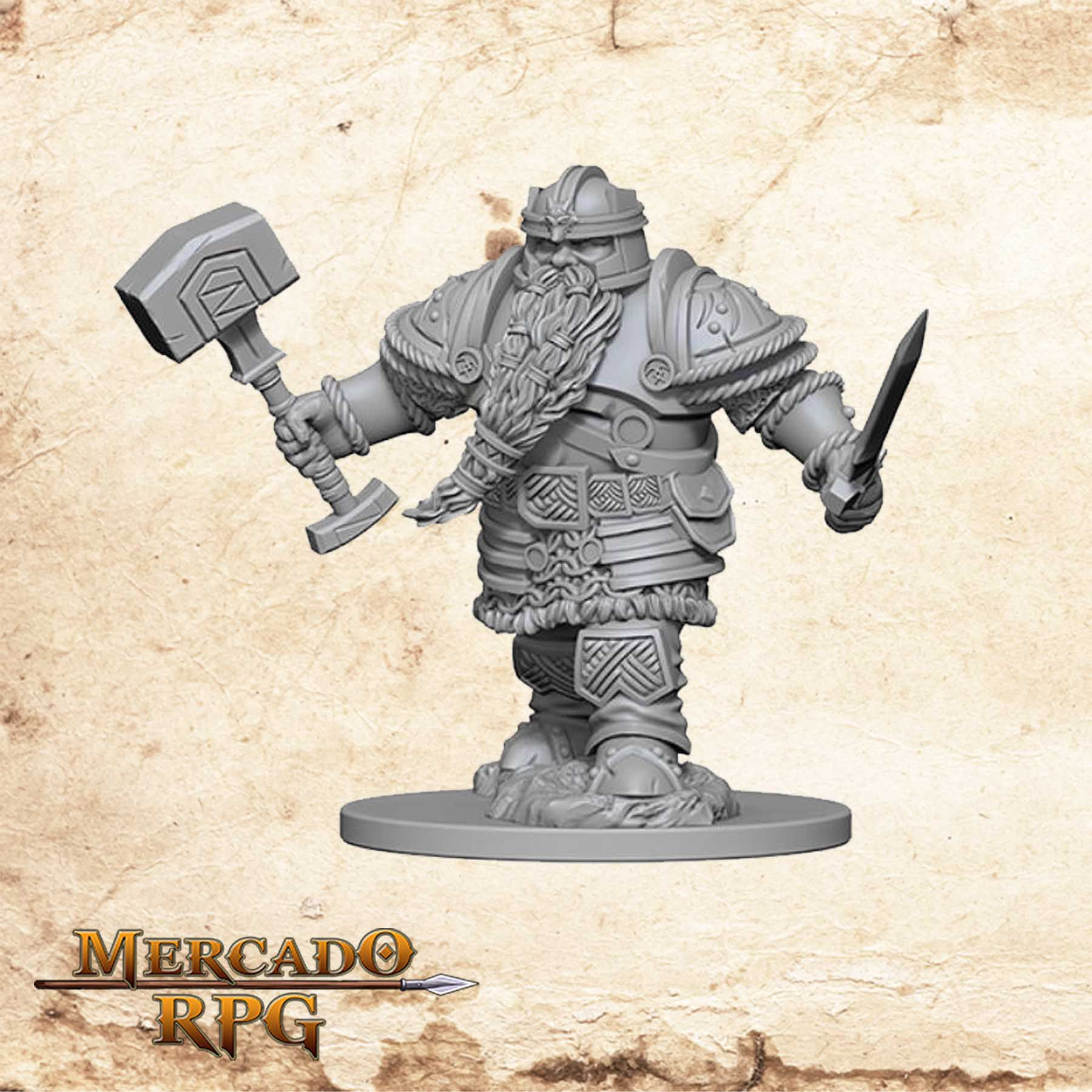 Dwarf Male Fighter B - Miniatura RPG  - Mercado RPG