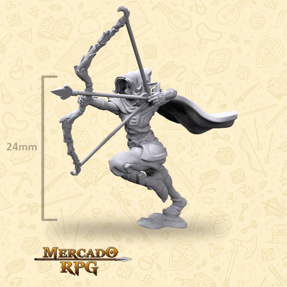 Elf Female Bow - Miniatura - RPG