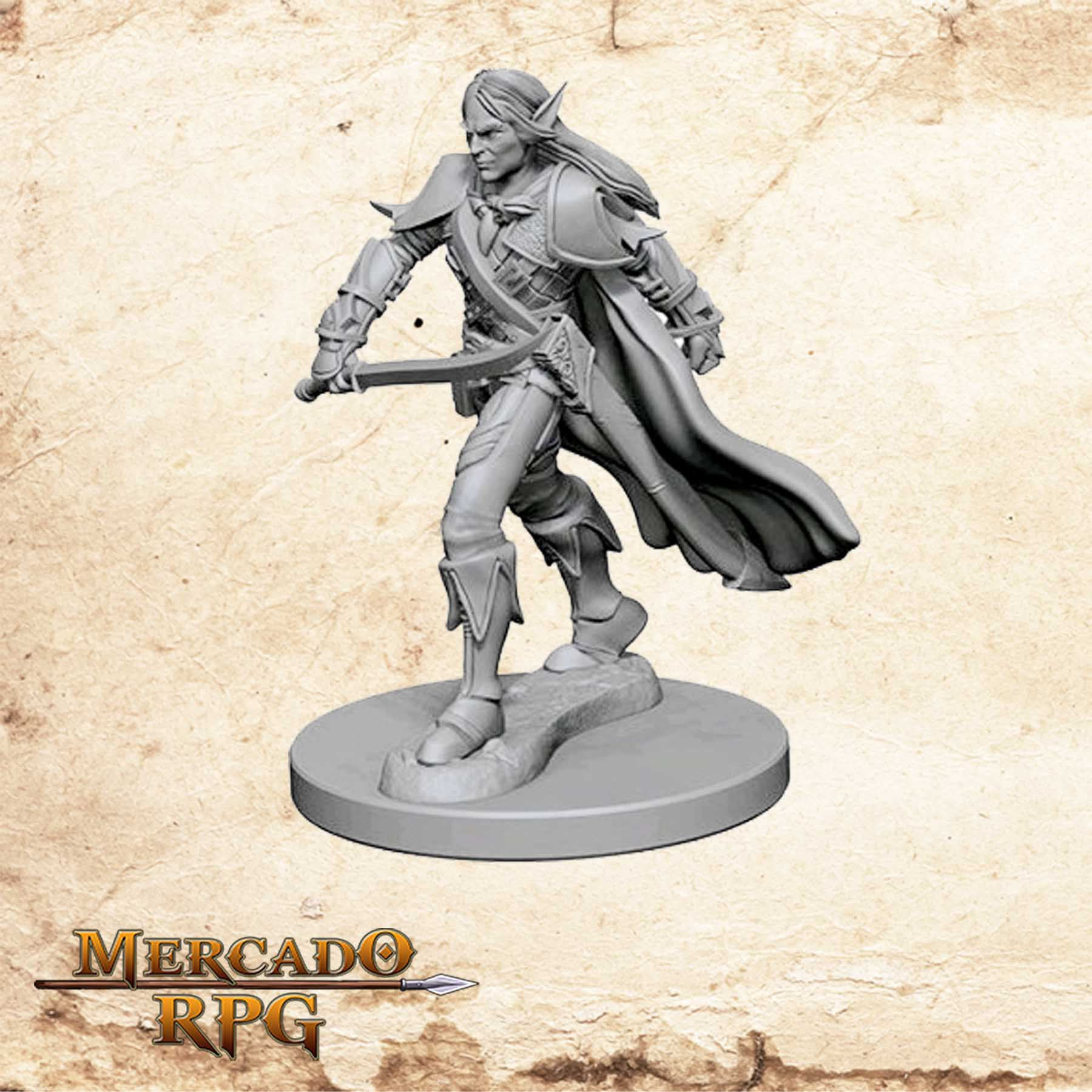 Elf Male Fighter A - Miniatura RPG  - Mercado RPG