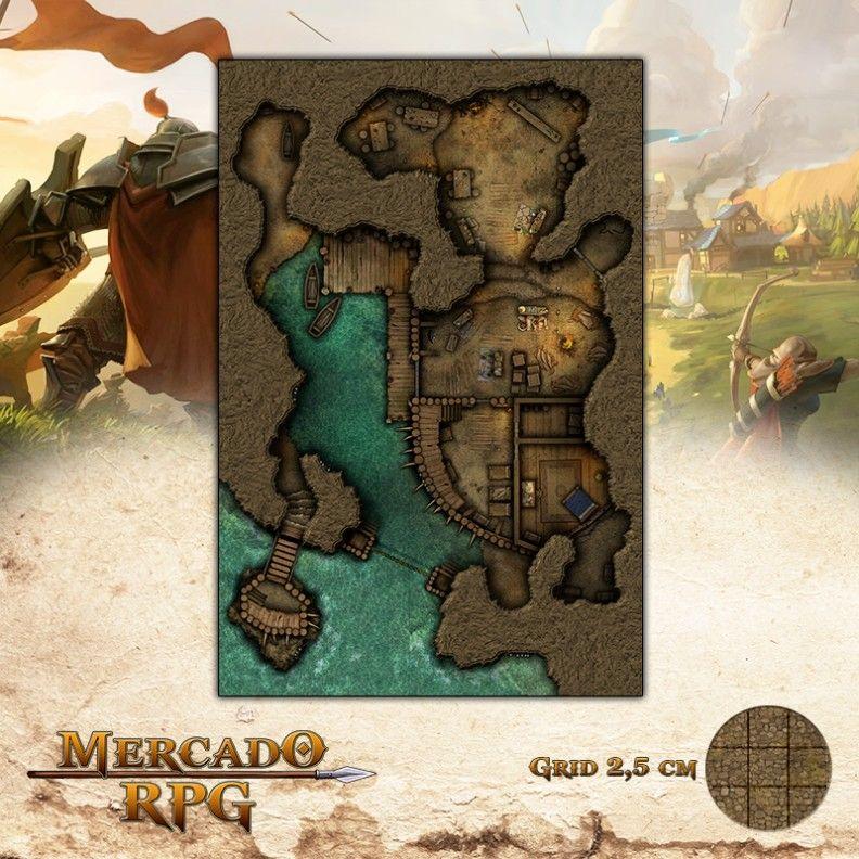 Esconderijo dos Piratas 50x75 - RPG Battle Grid D&D