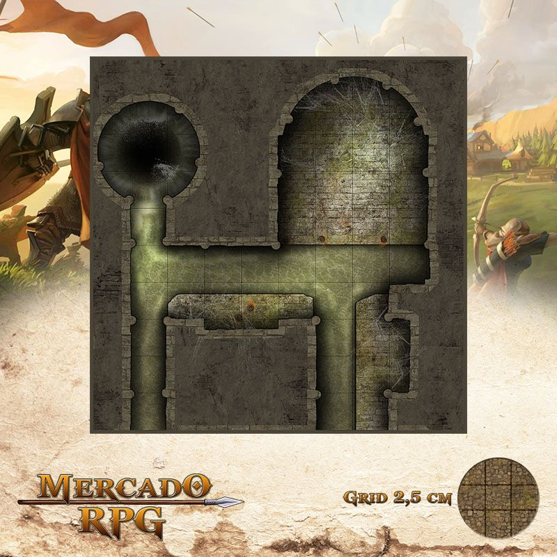 Esgoto - Dreno Final 25x25 - RPG Battle Grid D&D