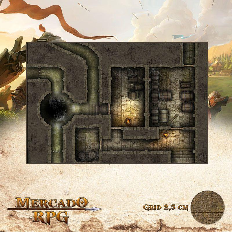 Esgoto - Escondedouro 25x37 Grid de Batalha - RPG Battle Grid D&D