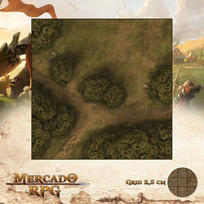 Estrada na Floresta A 50x50 - RPG Battle Grid D&D