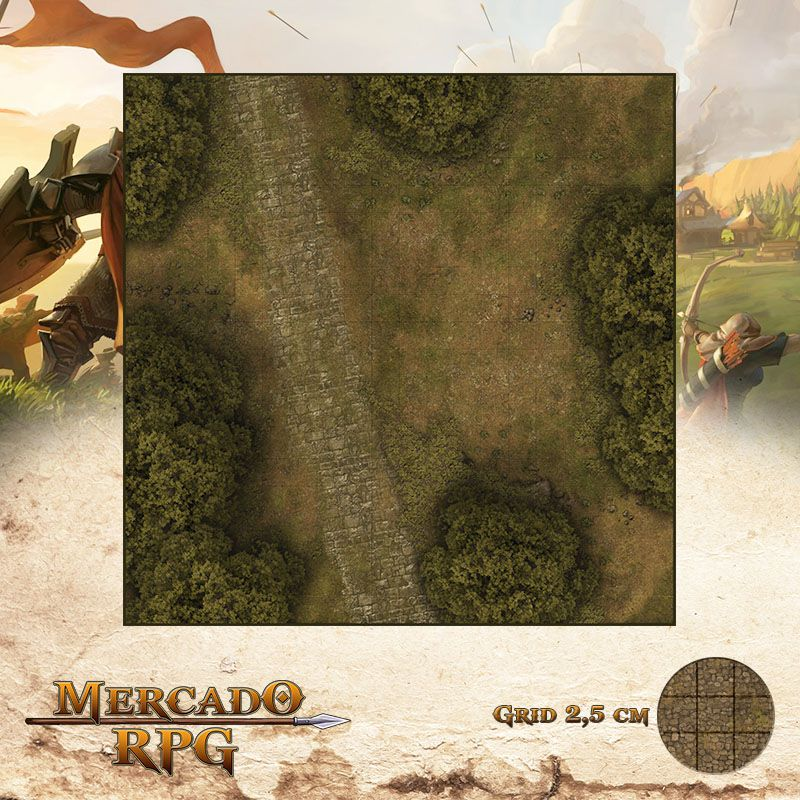 Estrada na Floresta C 50x50 - RPG Battle Grid D&D
