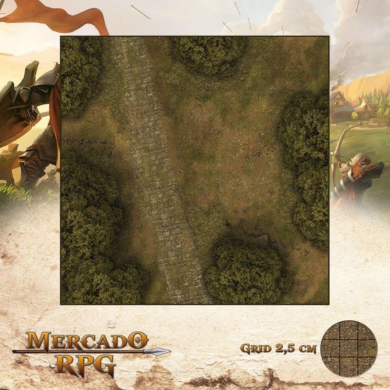 Estrada na Floresta C 50x50 - RPG Battle Grid D&D