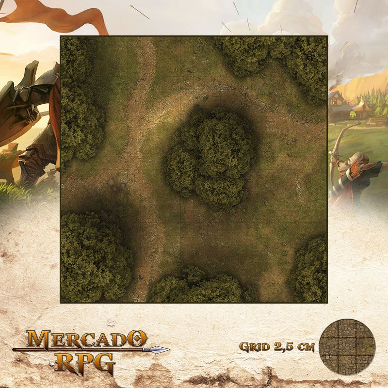 Estrada na Floresta D 50x50 - RPG Battle Grid D&D