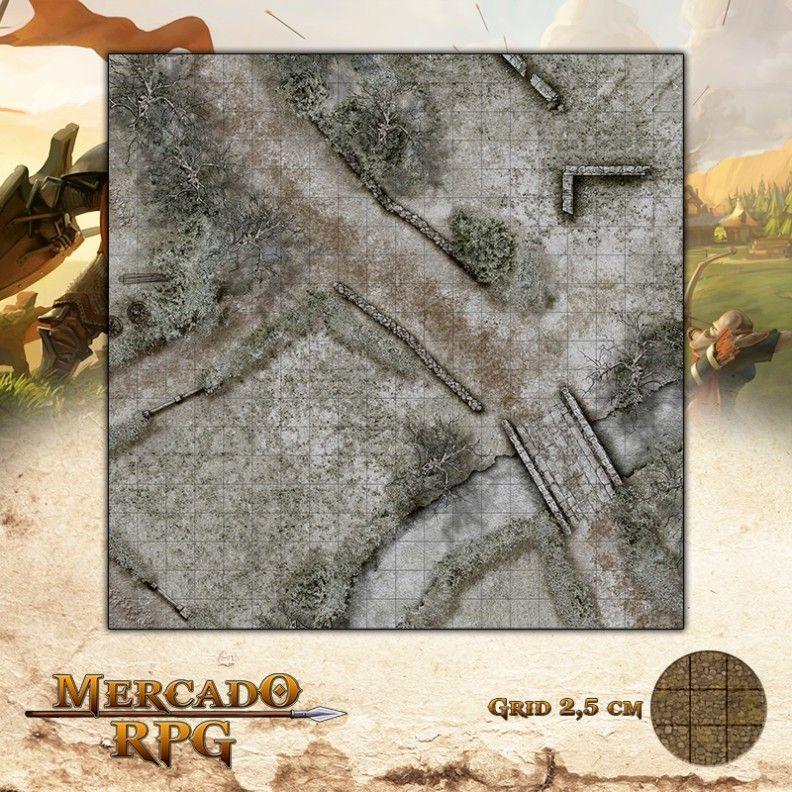 Fazenda Norte - Inverno 50x50 - RPG Battle Grid D&D  - Mercado RPG