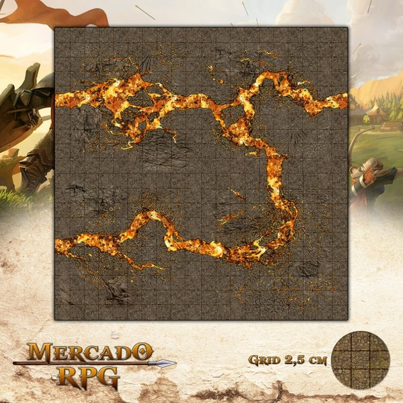 Fendas Vulcânicas 50x50 - RPG Battle Grid D&D  - Mercado RPG