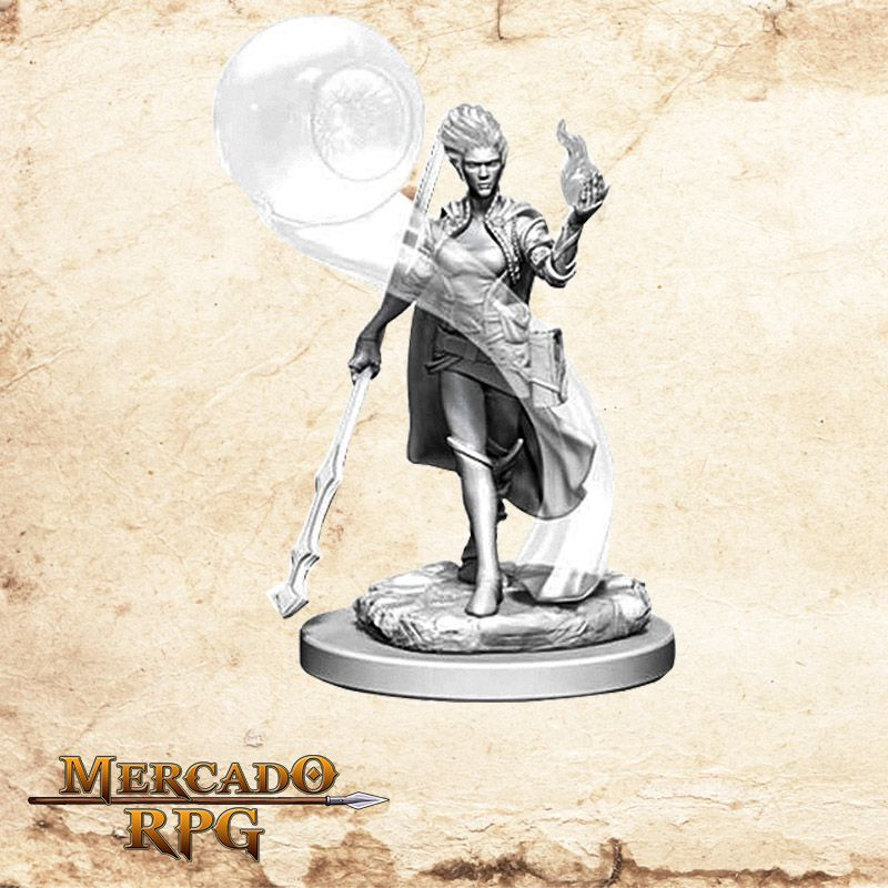 Fire Genasi Female Wizard B - Miniatura RPG  - Mercado RPG