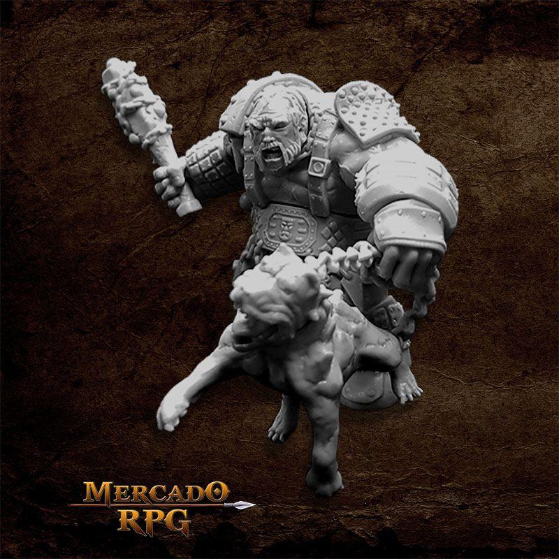 Fire Giant Huntsman w/ Hell Hound - Miniatura RPG