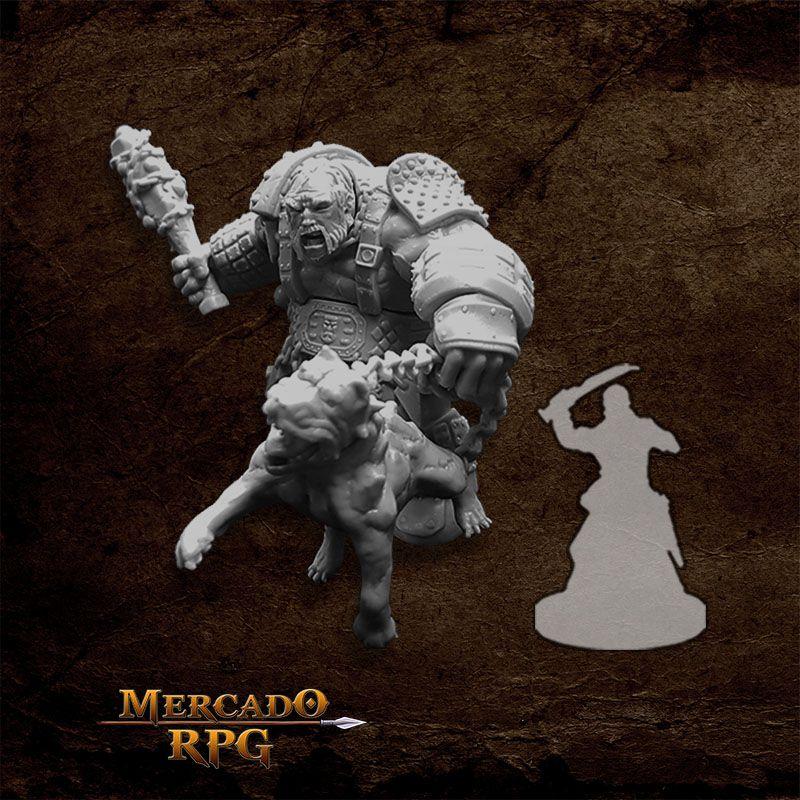 Fire Giant Huntsman w/ Hell Hound - Miniatura RPG  - Mercado RPG