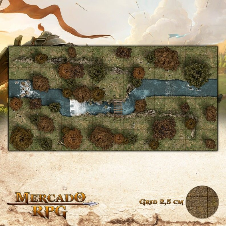 Floresta do Outono 50x25 - RPG Battle Grid D&D  - Mercado RPG