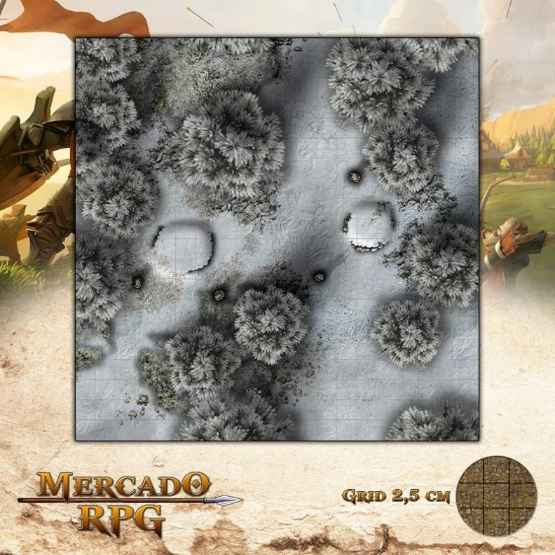 Floresta dos Ermos Gélidos Sul 50x50 - RPG Battle Grid D&D  - Mercado RPG