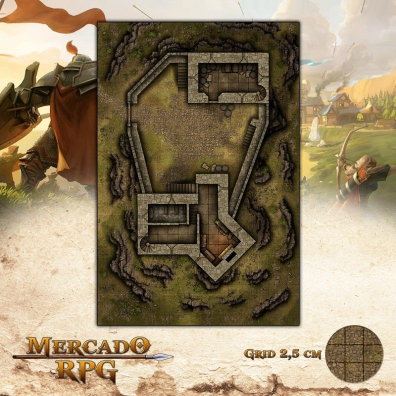 Fortaleza 50x75 - RPG Battle Grid D&D
