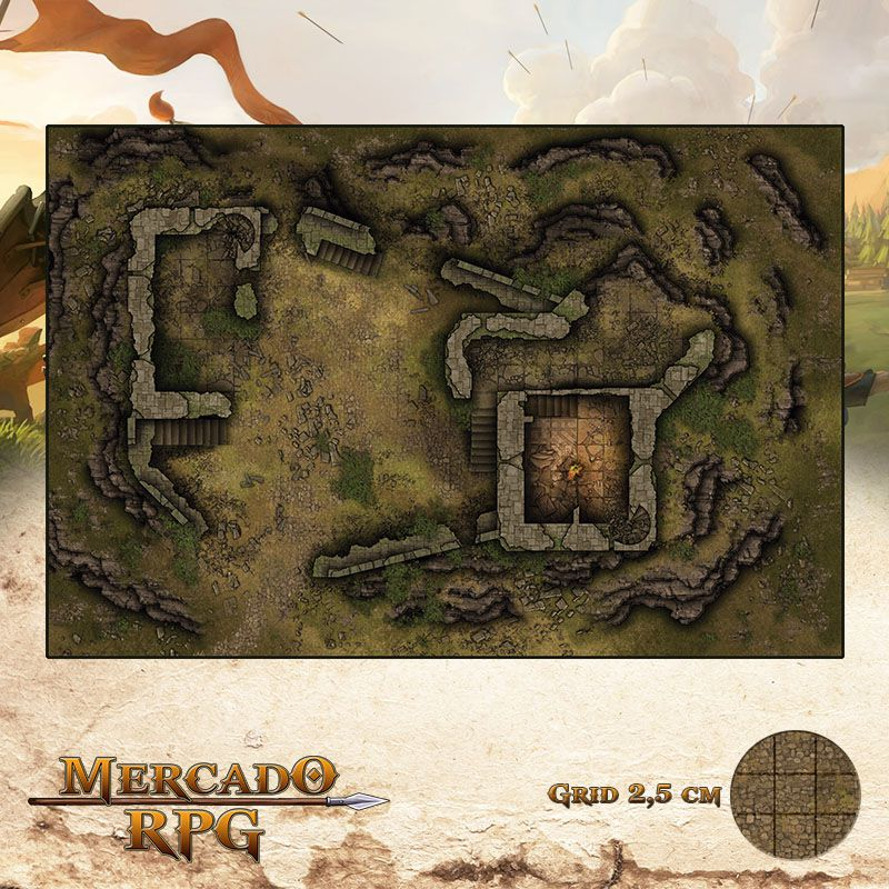 Fortaleza Arruinada 50x75 - RPG Battle Grid D&D