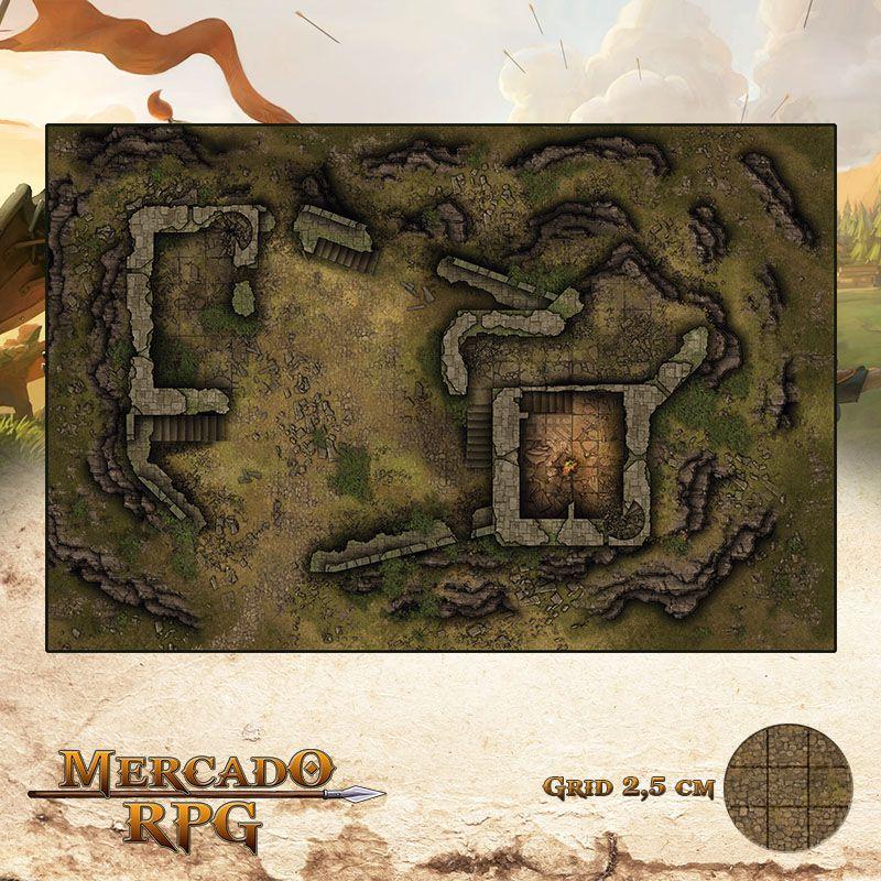 Fortaleza Arruinada 50x75 Grid de Batalha - RPG Battle Grid D&D
