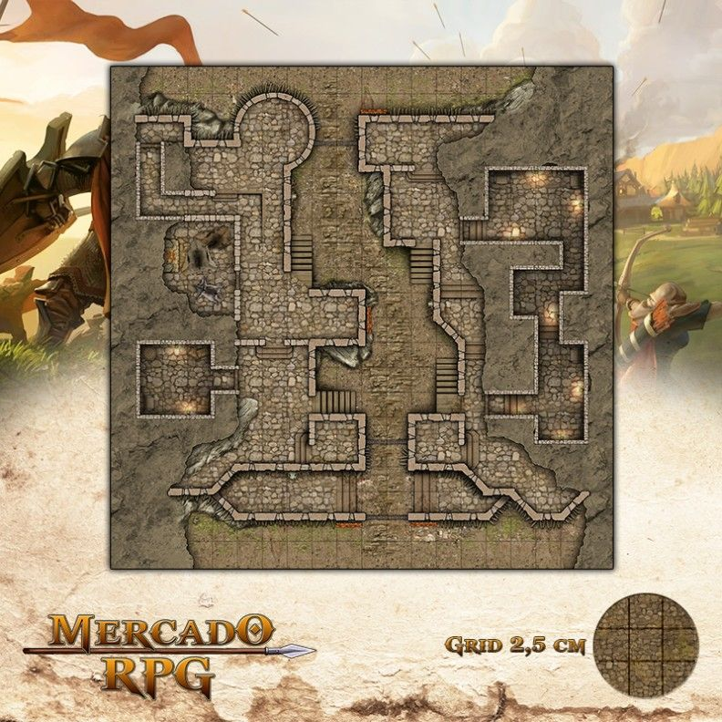 Forte 50x50 - RPG Battle Grid D&D  - Mercado RPG