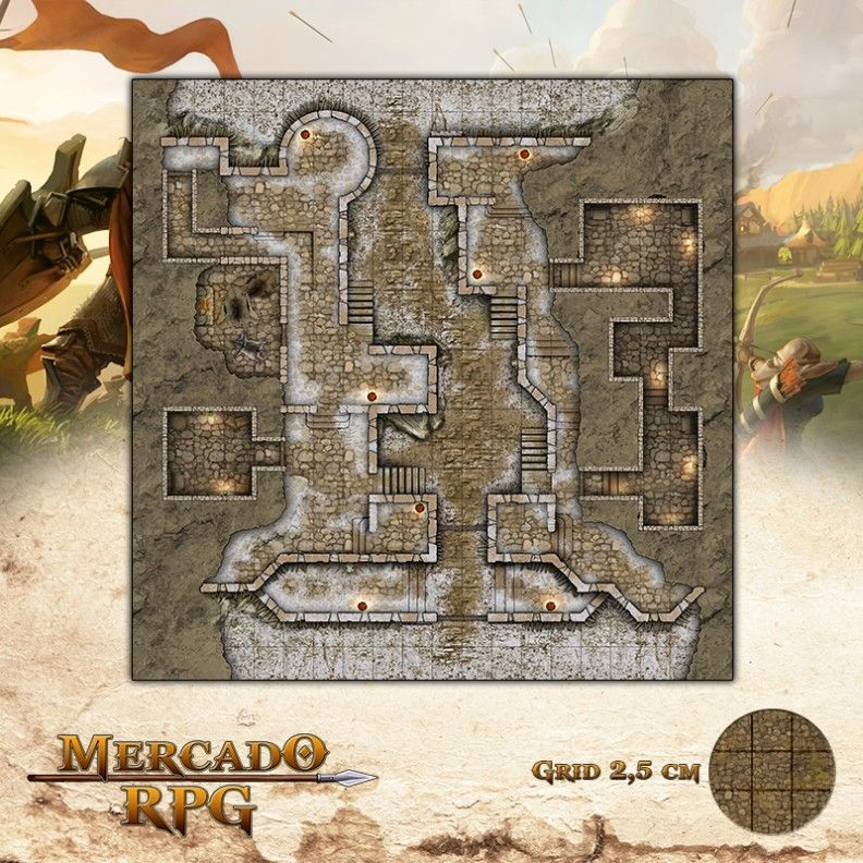 Forte - Inverno 50x50 - RPG Battle Grid D&D  - Mercado RPG