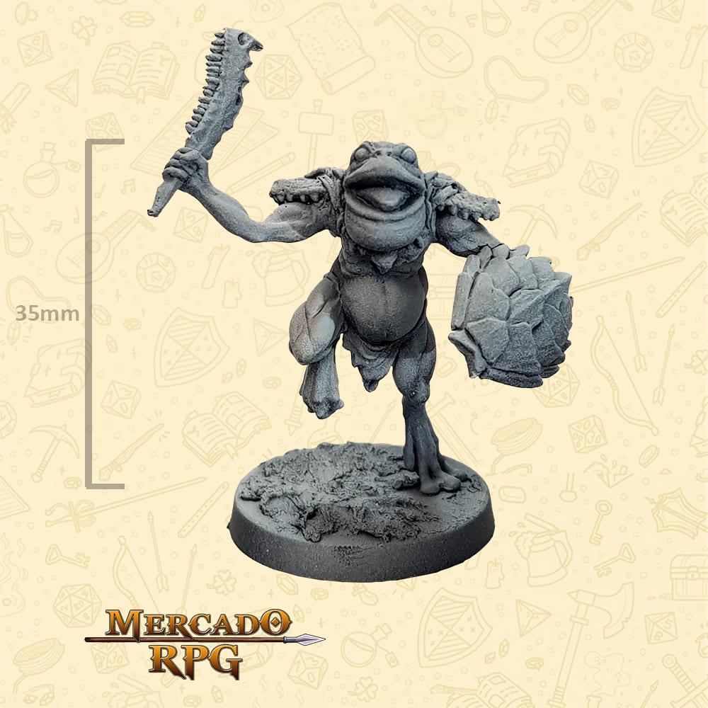 Frogman - Clava Mandíbula e Escudo - Basilisco Miniaturas - Metal Branco - Miniaturas para RPG