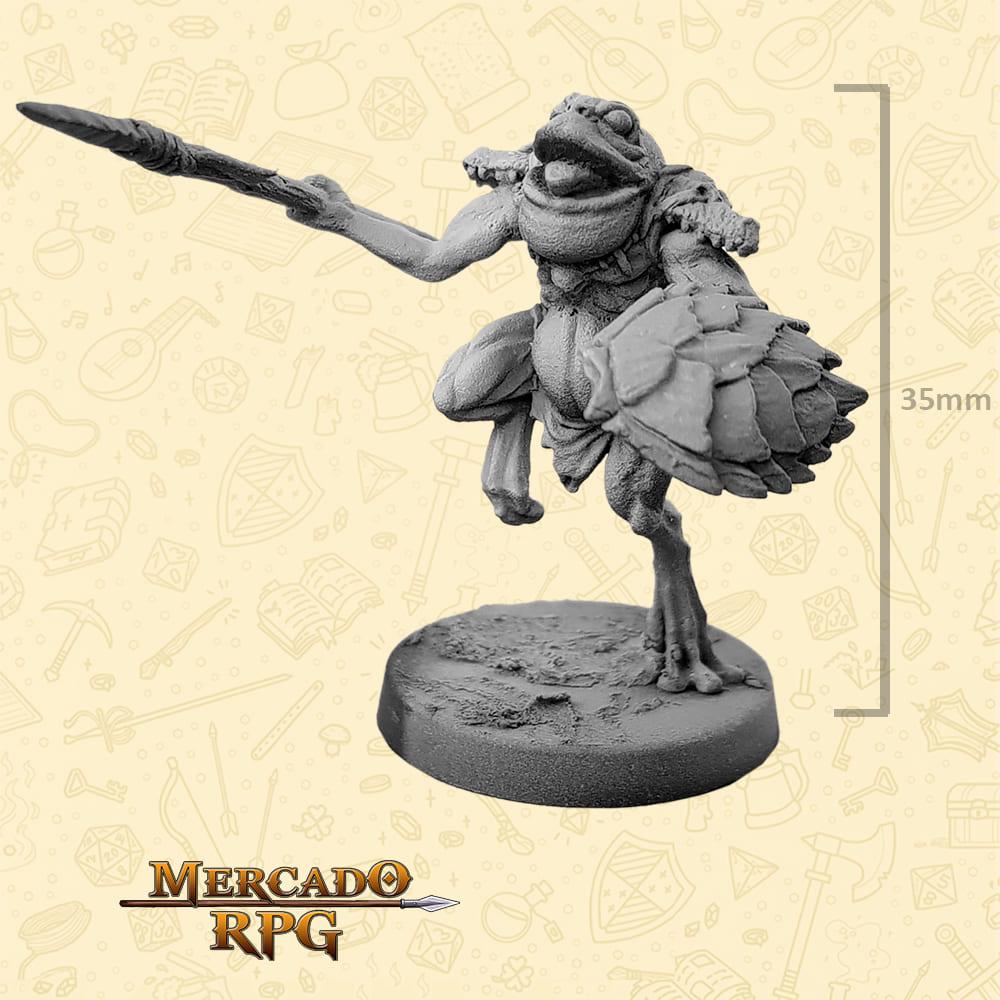 Frogman - Lança e Escudo - Basilisco Miniaturas - Metal Branco - Miniaturas para RPG