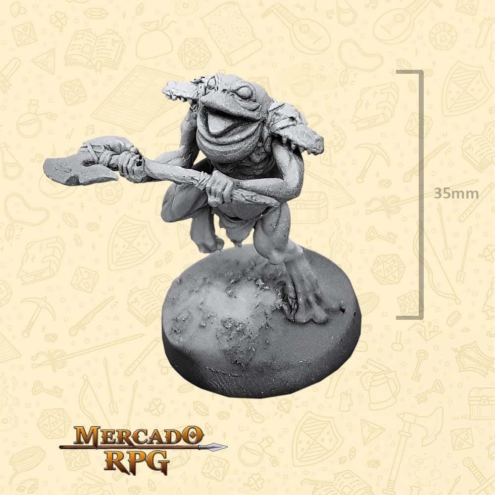 Frogman - Machado Grande - Basilisco Miniaturas - Metal Branco - Miniaturas para RPG