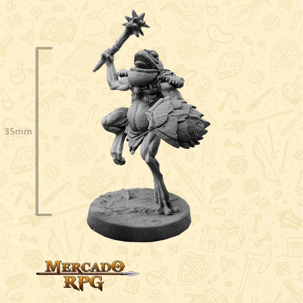 Frogman - Massa e Escudo - Basilisco Miniaturas - Metal Branco - Miniaturas para RPG