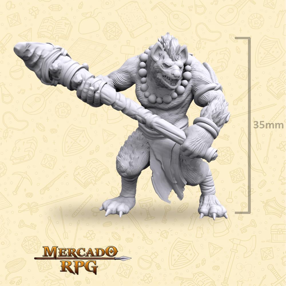 Gnoll Barbarian - Miniatura - RPG