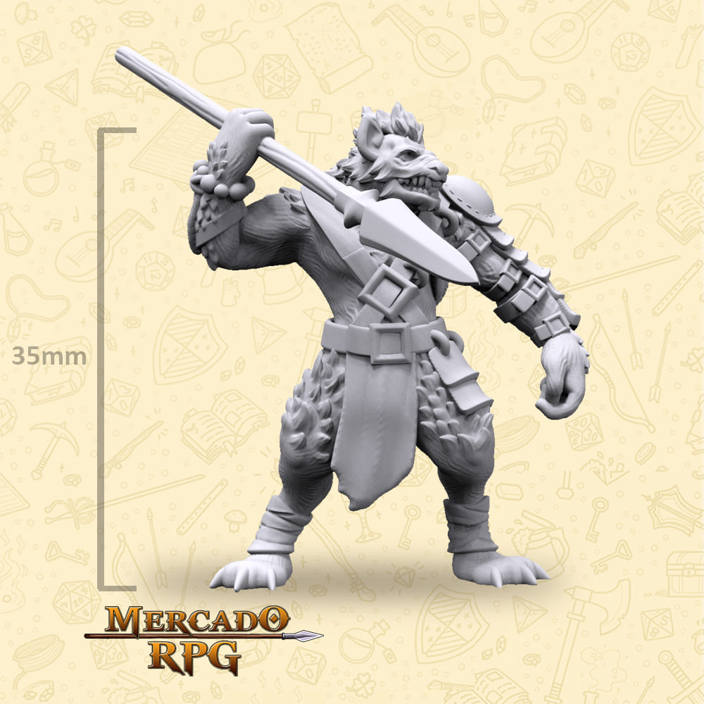 Gnoll Spearman - Miniatura - RPG
