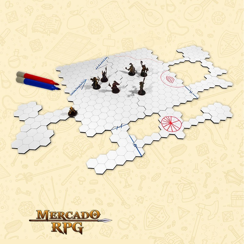 Grid de Batalha - Hexagonal - Modular Riscável - 18 Peças - RPG Battle Grid D&D