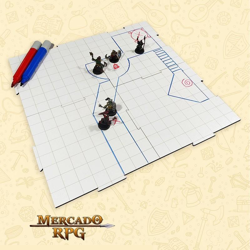 Grid de Batalha - Quadrado - Modular Riscável - 4 Peças - RPG Battle Grid D&D