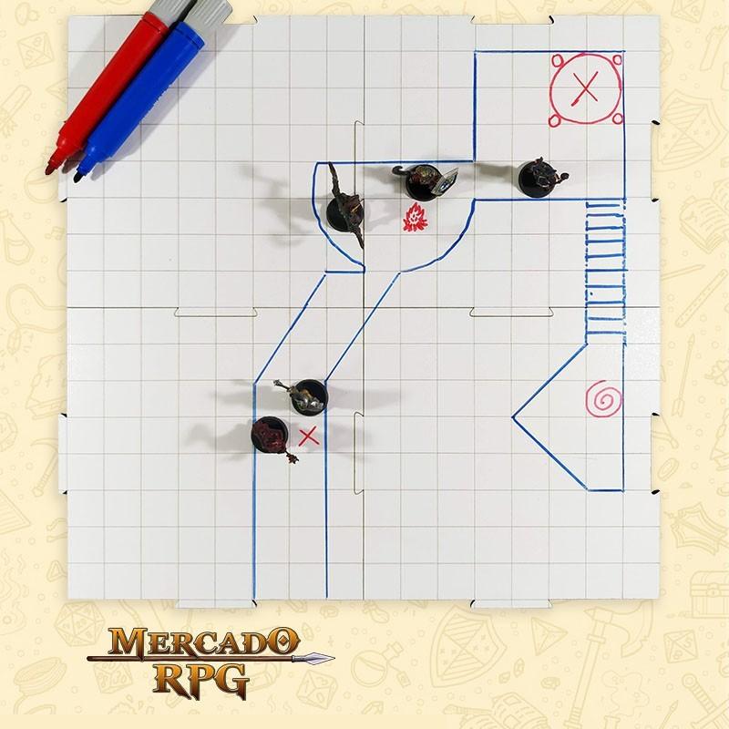 Grid de Batalha - Quadrado - Modular Riscável - 4 Peças - RPG Battle Grid D&D  - Mercado RPG