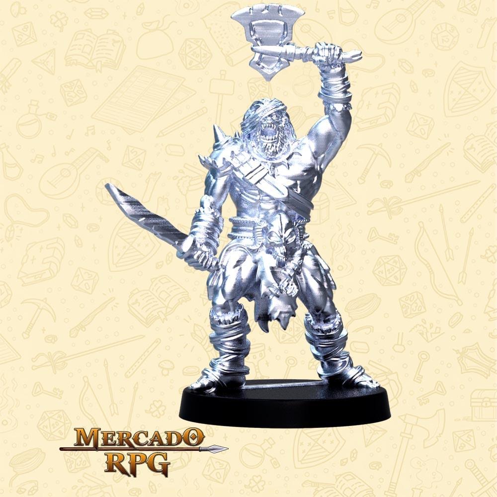 Grumbar O Sem Olho - Basilisco Miniaturas - Metal Branco - Miniaturas para RPG
