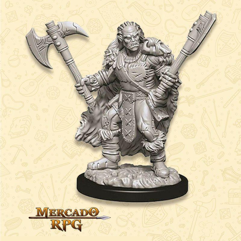 Half-Orc Male Barbarian D - Miniatura RPG  - Mercado RPG