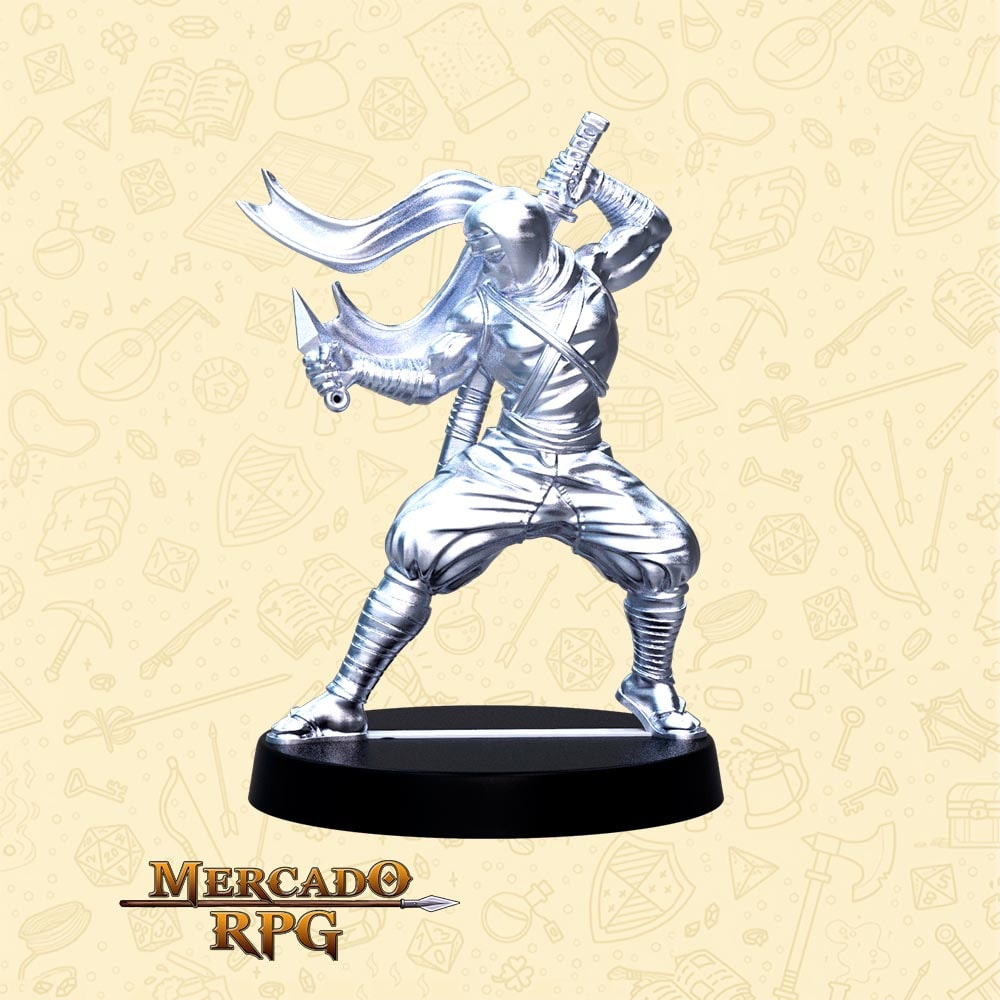 Hanzo Lâmina Mortal - Basilisco Miniaturas - Metal Branco - Miniaturas para RPG