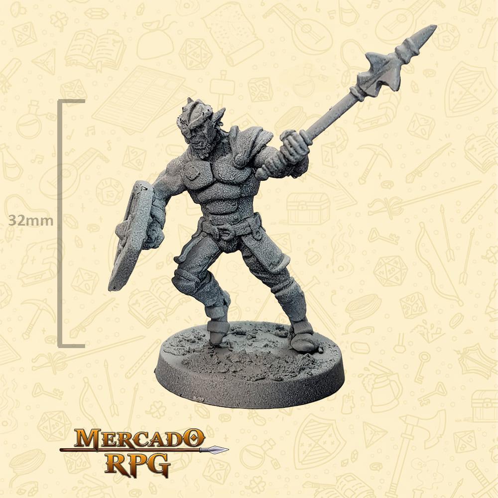 Hobgoblin - Massa e Escudo - Basilisco Miniaturas - Metal Branco - Miniaturas para RPG