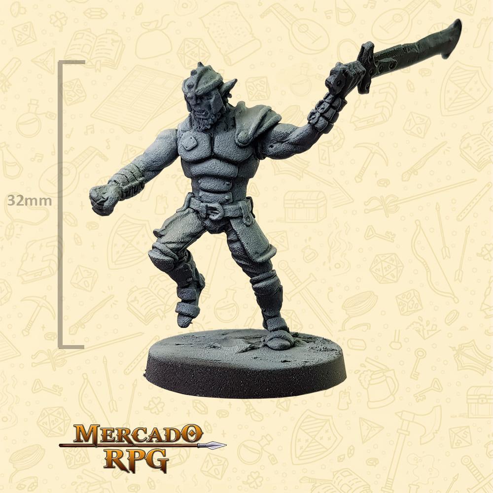 Hobgoblin - Espada - Basilisco Miniaturas - Metal Branco - Miniaturas para RPG