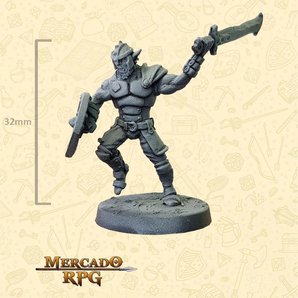 Hobgoblin - Espada e Escudo - Basilisco Miniaturas - Metal Branco - Miniaturas para RPG
