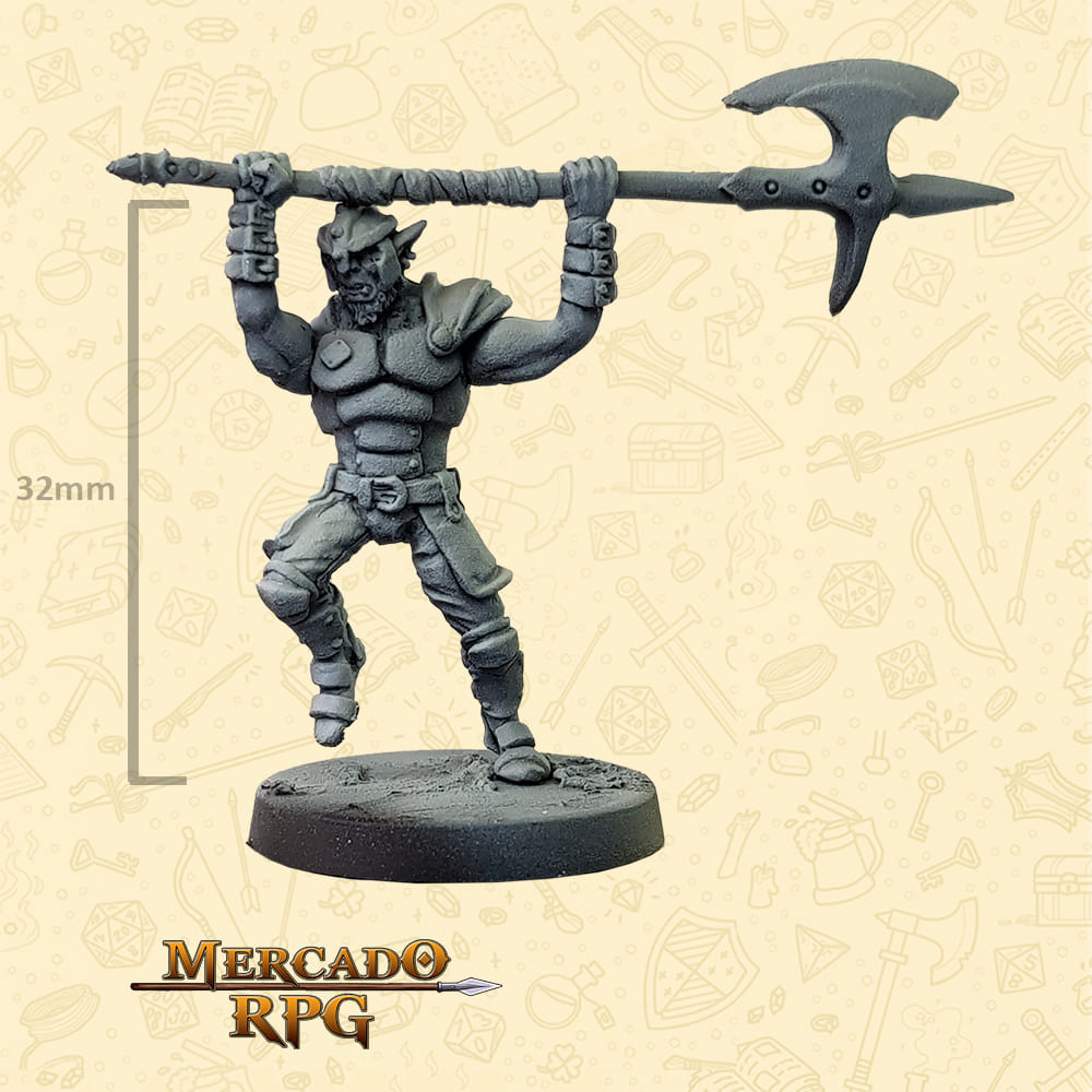 Hobgoblin - Machado grande - Basilisco Miniaturas - Metal Branco - Miniaturas para RPG